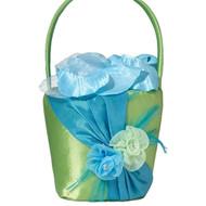 Vibrant Blue and Green Flower Girl Basket