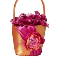 Vibrant Hot Pink and Orange Flower Girl Basket