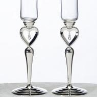 Dangling Jewel Heart Toasting Glass Set