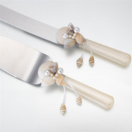 Ivory Seashell Knife and Server Set
