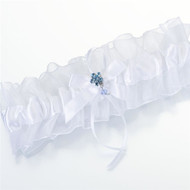Something Blue Rhinestone Flower Garter