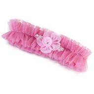 Pink Tulle Flower Garter