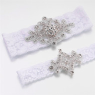 Jeweled White Lace Garter Set