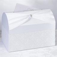 Elegant White Rhinestone Sash Card Box
