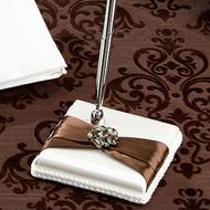 Brown Jeweled Cream Pen Set