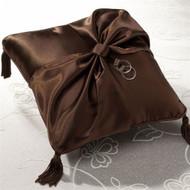 Chocolate Brown Satin Ring Pillow