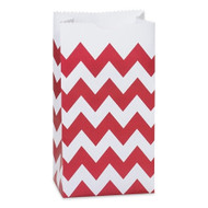 Red Chevron Striped Treat Bag (Set of 25)