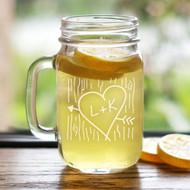 Heart + Initials Rustic Personalized Drinking Mason Jar