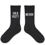 """Cold Feet? Never!"" Black Socks for the Groom"