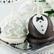 Bride and Groom Hand Decorated Mini Cake Pops