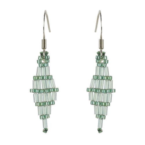 Diamond Brick Stitched Earrings with Bugle Beads by Martha Newell (Penobscot).