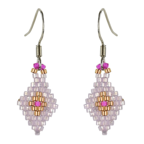 Diamond Brick Stitched Earrings by Martha Newell (Penobscot).