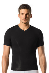 700 Black - Leo Control Tee 35011 - Front View - Topdrawers Underwear for Men