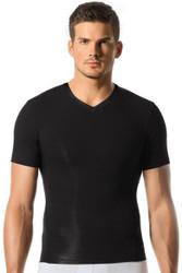 Black - Leo Sports Compression V-Neck Tee 35014 - Front View - Topdrawers Underwear for Men