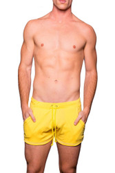 Sunny Yellow - Go Softwear Cal Guy Rower Short 4664 - Front View - Topdrawers Menswear