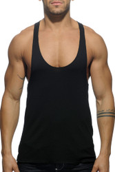 10 Black - Addicted Back Logo Tank Top AD340 - Front View - Topdrawers Menswear