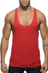 06 Red - Addicted Back Logo Tank Top AD340 - Front View - Topdrawers Menswear