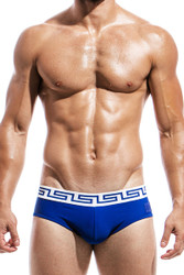 Blue - Modus Vivendi Meander Swim Brief DS1811 - Front View - Topdrawers Swimwear for Men