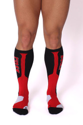 Red - CellBlock 13 Arsenal Knee High Sock A055 - Front View - Topdrawers Underwear for Men