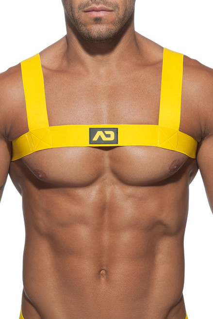 03 Yellow - Addicted Basic Elastic Harness ADF104 - Front View - Topdrawers Underwear for Men
