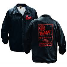 Raw Button-Up Coaches Jacket with Logo Design - Black Color