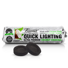 Beamer Premium Coconut Shell Quick Light Charcoal 33mm 10 Count Roll - You Pick  Roll Count