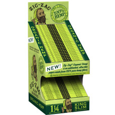 Zig Zag Cardboard Rolling Paper Display Stand w/ Rolling Papers - Organic Hemp - 1 1/4 Size Rolling Paper, King Size Slim Rolling Paper - 24-Ct Display + Beamer Smoke Sticker