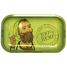 "Zig Zag Medium Metal Rolling Tray, Organic Hemp Design - 11"" x 7"""
