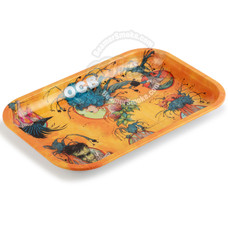 """OCB Small Metal Rolling Tray, Ring of Fire Design - 7.5"""" x 5.5"""""""