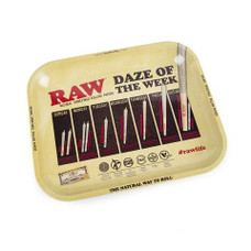"""Raw Large Metal Rolling Tray, Daze of the Week Design - 14"""" x 11"""""""