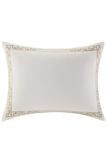 Ming Fretwork White/Champagne Sham at The Natori Company