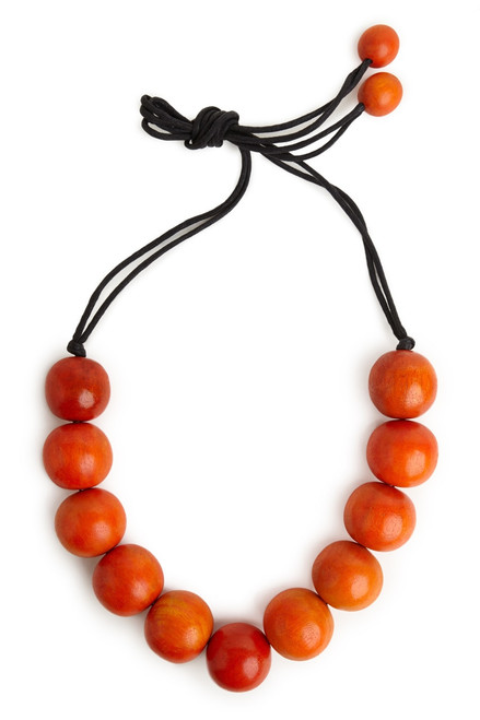 Buy Josie Natori Large Wood Bead Necklace - Cayenne from