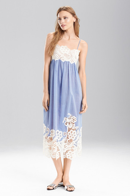 Josie Natori Cotton Voile With Lace Gown at The Natori Company