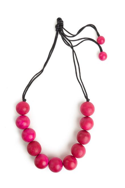 Josie Natori Large Wood Bead Necklace - Rose Pink at The Natori Company