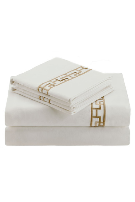 Buy Ming Fretwork White/Champagne Sheet from
