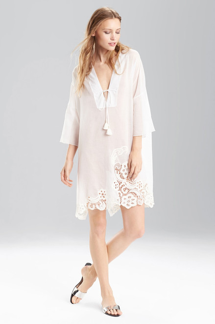 Buy Josie Natori Cotton Voile With Lace Short Caftan from