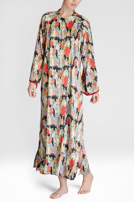 Natori Dynasty Mandarin Zip Caftan at The Natori Company