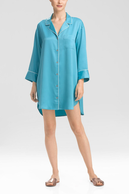 Natori Solid Charmeuse Essentials Sleepshirt with Pocket at The Natori Company