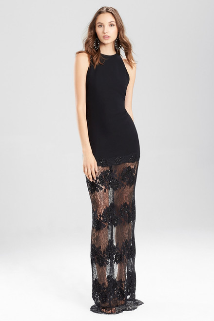 Buy Josie Natori Crepe Halter Dress With Punch Needle Lace from