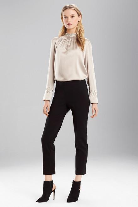 Buy Josie Natori Stretch Silk Mandarin Collar Top from