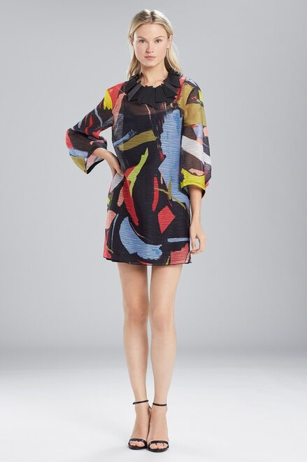 Buy Josie Natori Printed Gauze Dress With Pleated Sleeves from