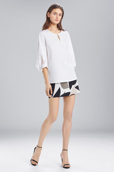 Buy Josie Natori Cotton Shirting Top With Pleated Sleeves from