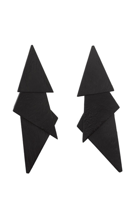 Buy Josie Natori Acacia Wood Triangle Earrings from