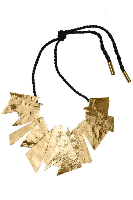 Buy Josie Natori Hammered Brass Buffed Geometric Necklace from
