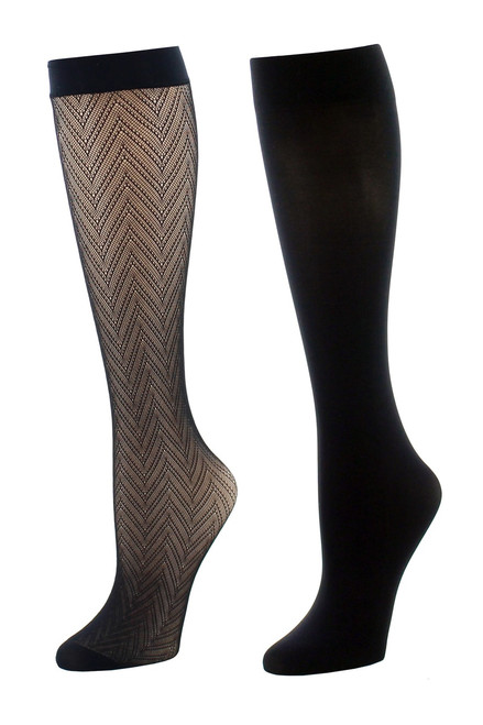 Buy Natori Chevron Net/Solid 2 Pair Trouser Socks from