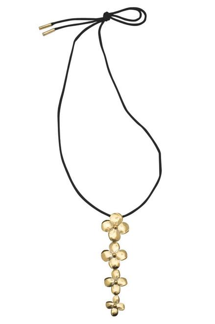 Buy Josie Natori Long Brass Flower Necklace from