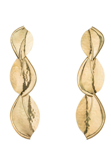 Buy Josie Natori Brass Leaf Trio Earrings from
