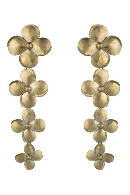 Buy Josie Natori Brass Flower Long Earrings from