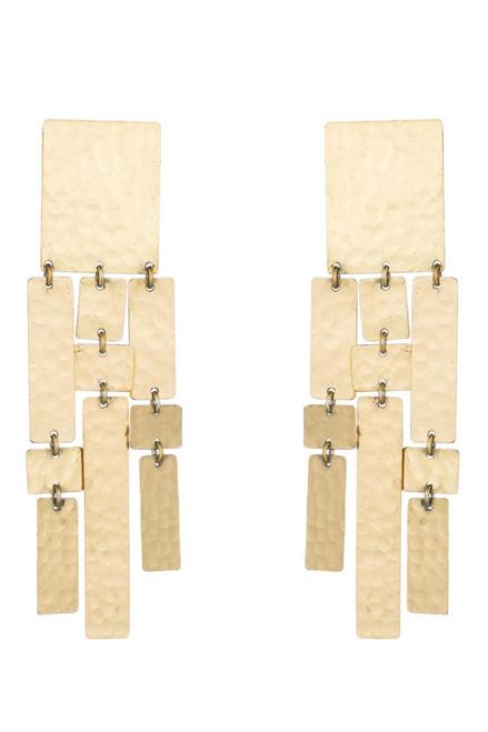 Buy Josie Natori Hammered Brass Drop Fringe Earrings from