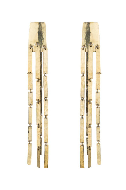 Buy Josie Natori Hammered Brass Cascade Earrings from